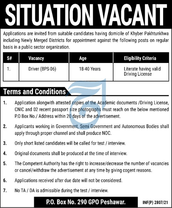 Driver Jobs in Peshawar Today Advertisement 2021 at PO Box No 290 GPO