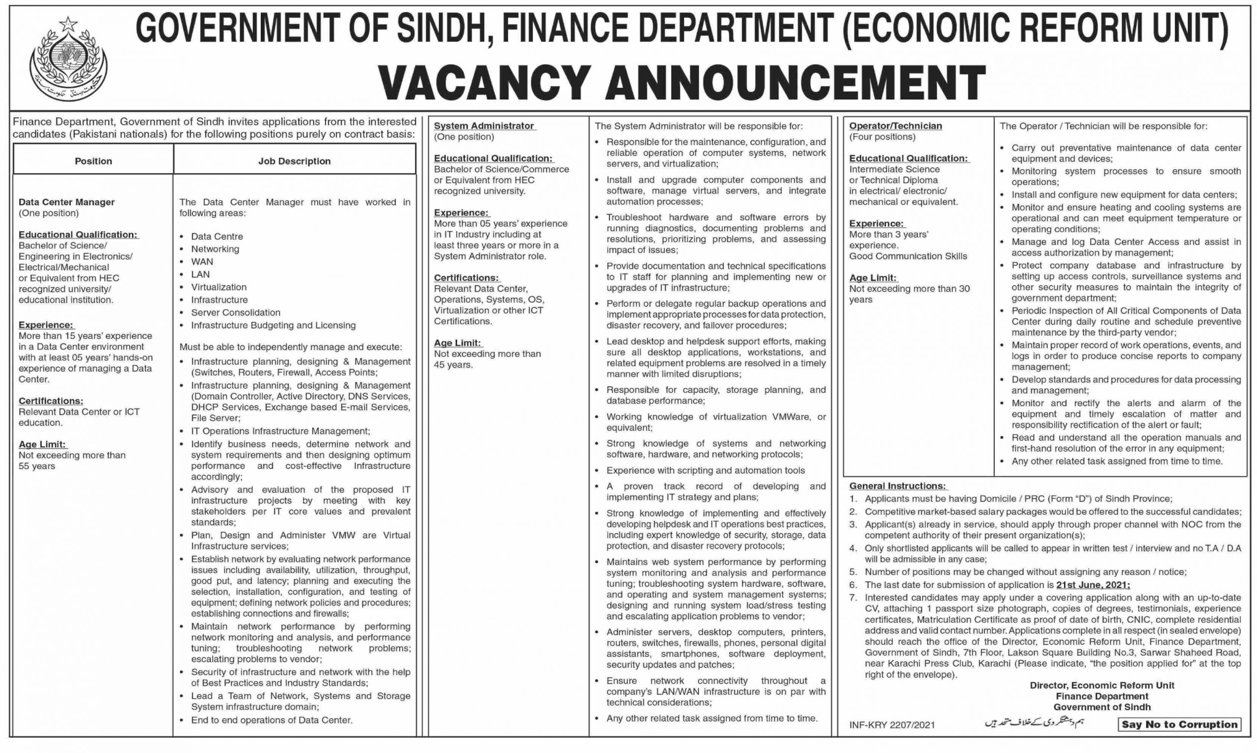 Government of Sindh Finance Department Jobs June 2021