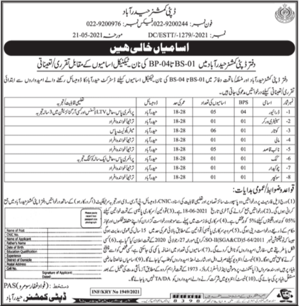 Non Technical Jobs in Deputy Commissioner Office Hyderabad