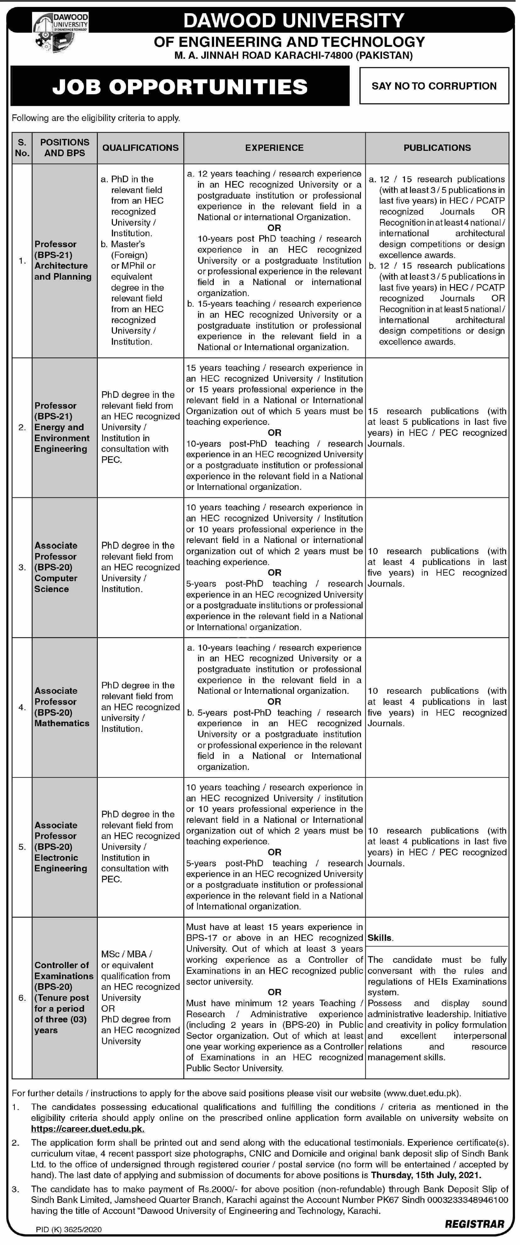 Dawood University Of Engineering and Technology DUET Jobs 2021