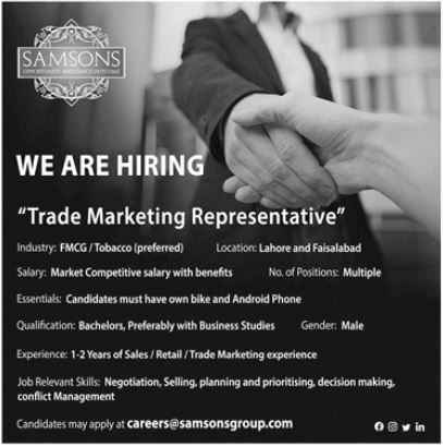 Samsons Group of Companies Lahore and Faisalabad Jobs 2021