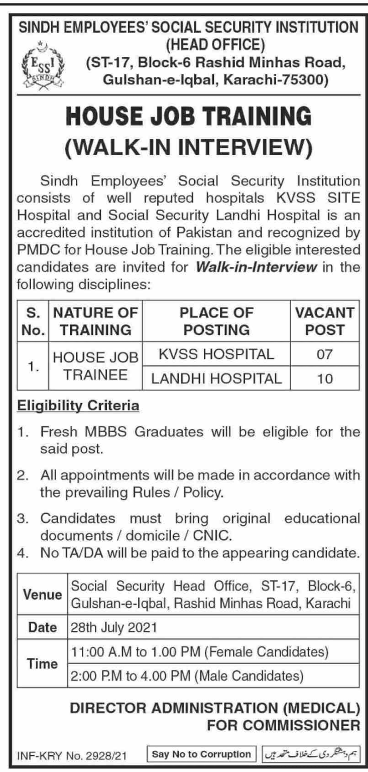Sindh Employees Social Security Institution SESSI Jobs 2021