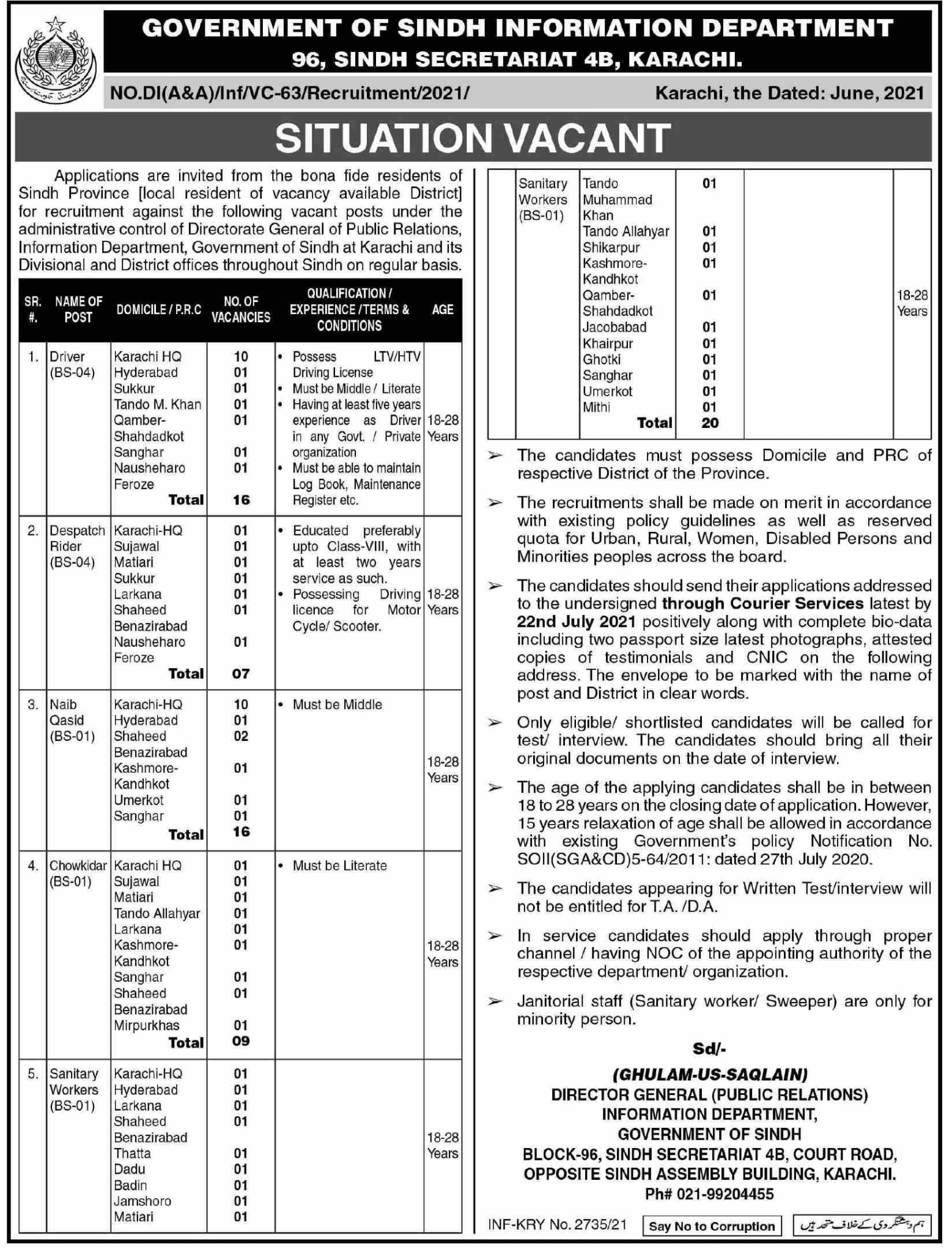 Sindh Information Department Government Jobs 2021