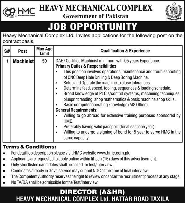 Heavy Mechanical Complex HMC Government of Pakistan Jobs May 2021