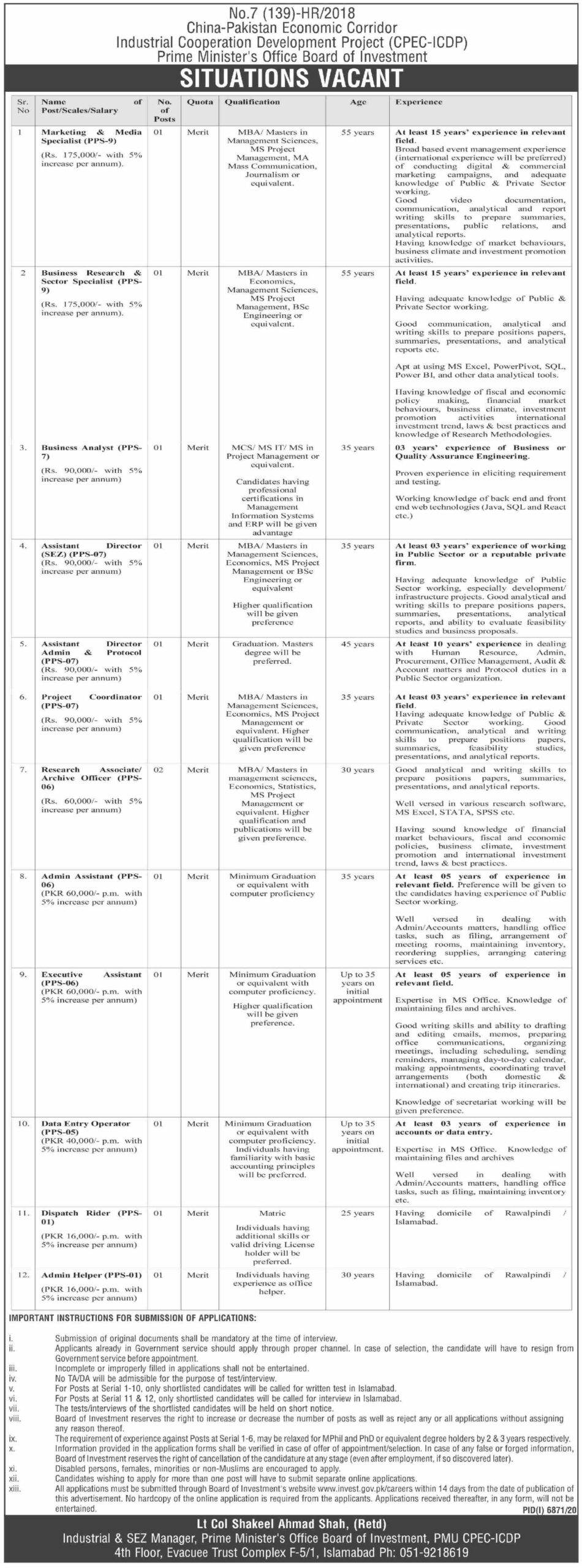 Board of Investment Islamabad Jobs 2021