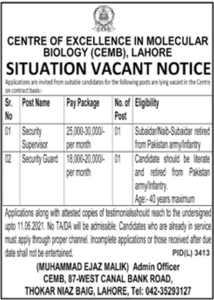 Centre of Excellence in Molecular Biology Lahore Jobs June 2021
