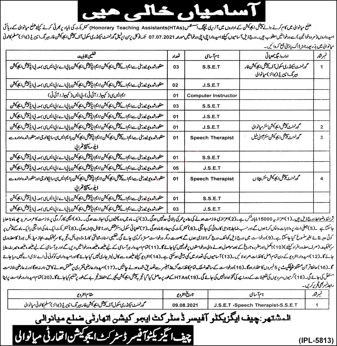 District Education Authority Mianwali Teaching Jobs 2021