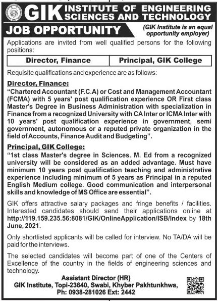 GIK Institute of Engineering Sciences and Technology Jobs June 2021