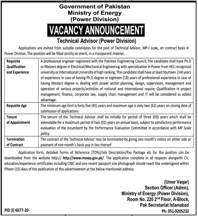 Government of Pakistan Ministry of Energy Jobs June 2021