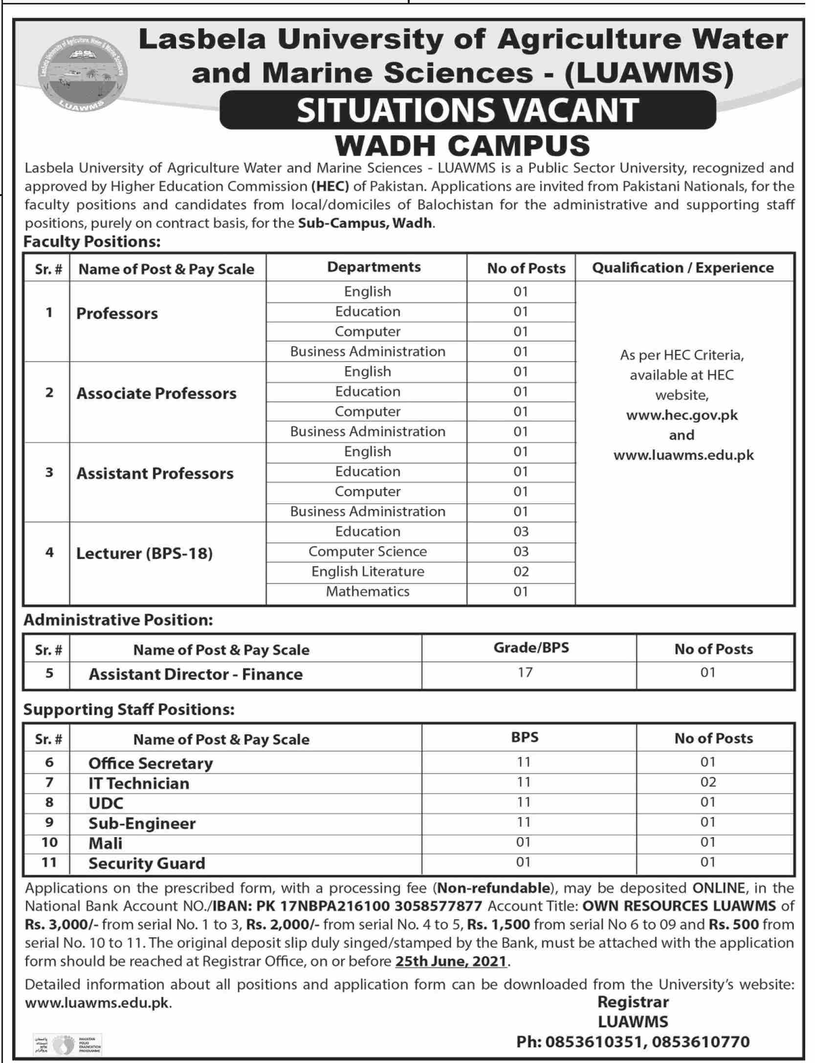 Lasbela University of Agriculture Water and Marine Sciences LUAWMS Jobs June 2021