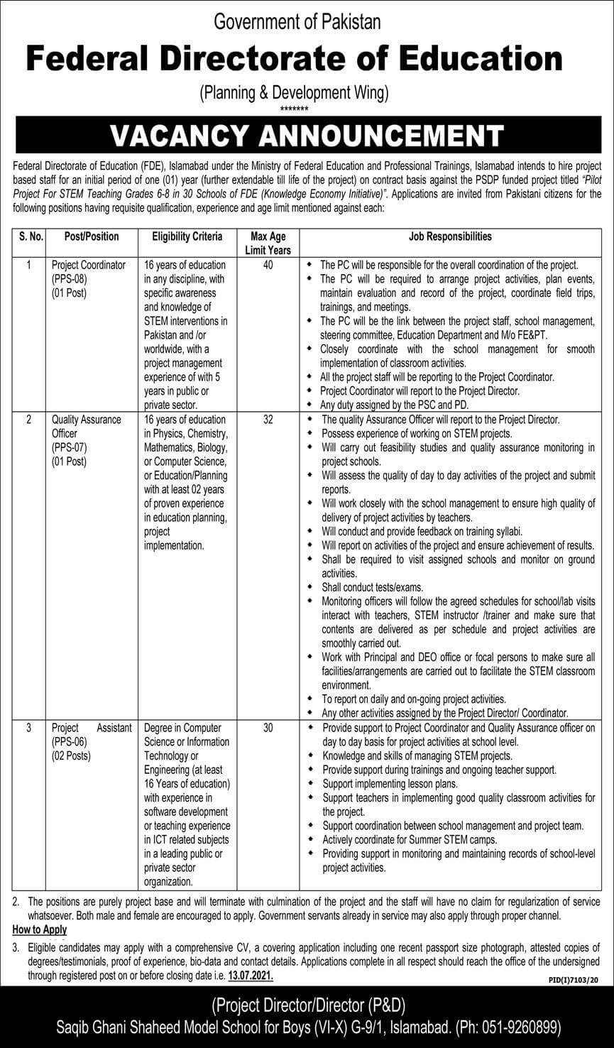 Ministry of Federal Education and Professional Training Jobs 2021
