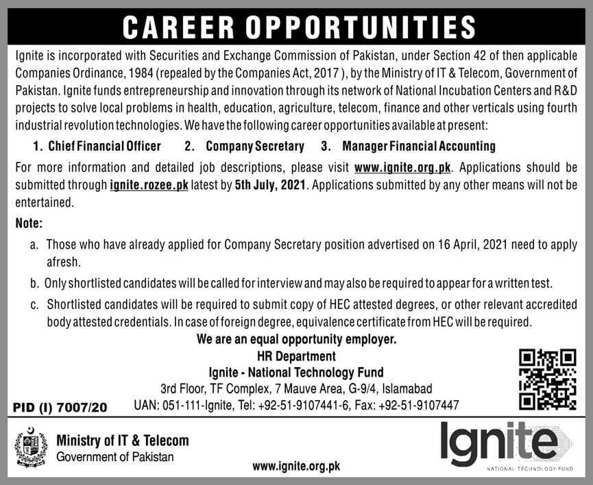 Ministry of Information Technology (IT) and Telecom Jobs 2021