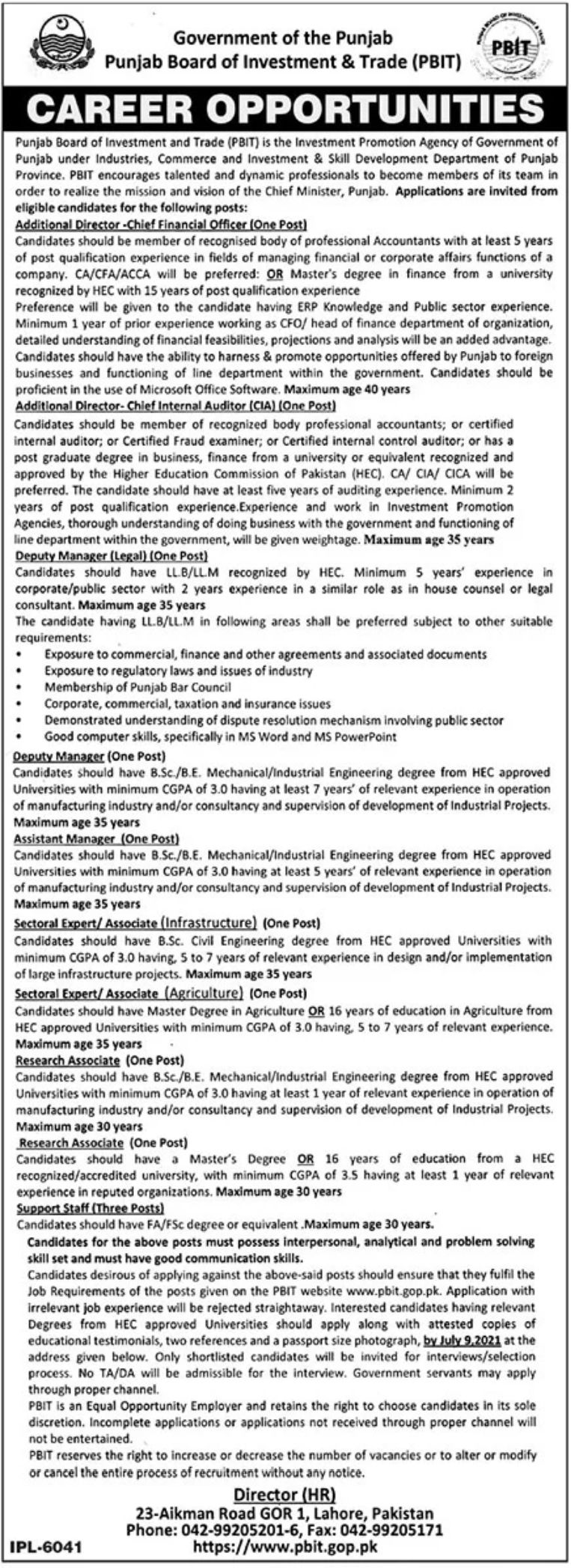 Govt Jobs in Punjab Board of Investment and Trade PBIT 2021