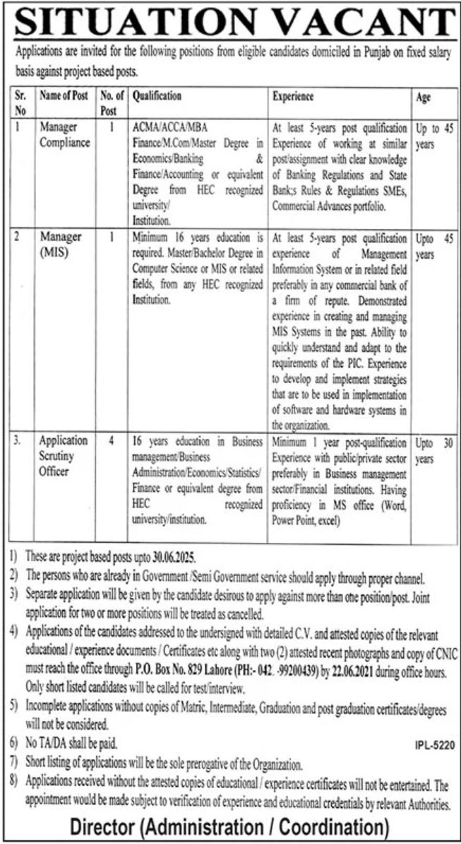 Punjab Government Sector Jobs June 2021