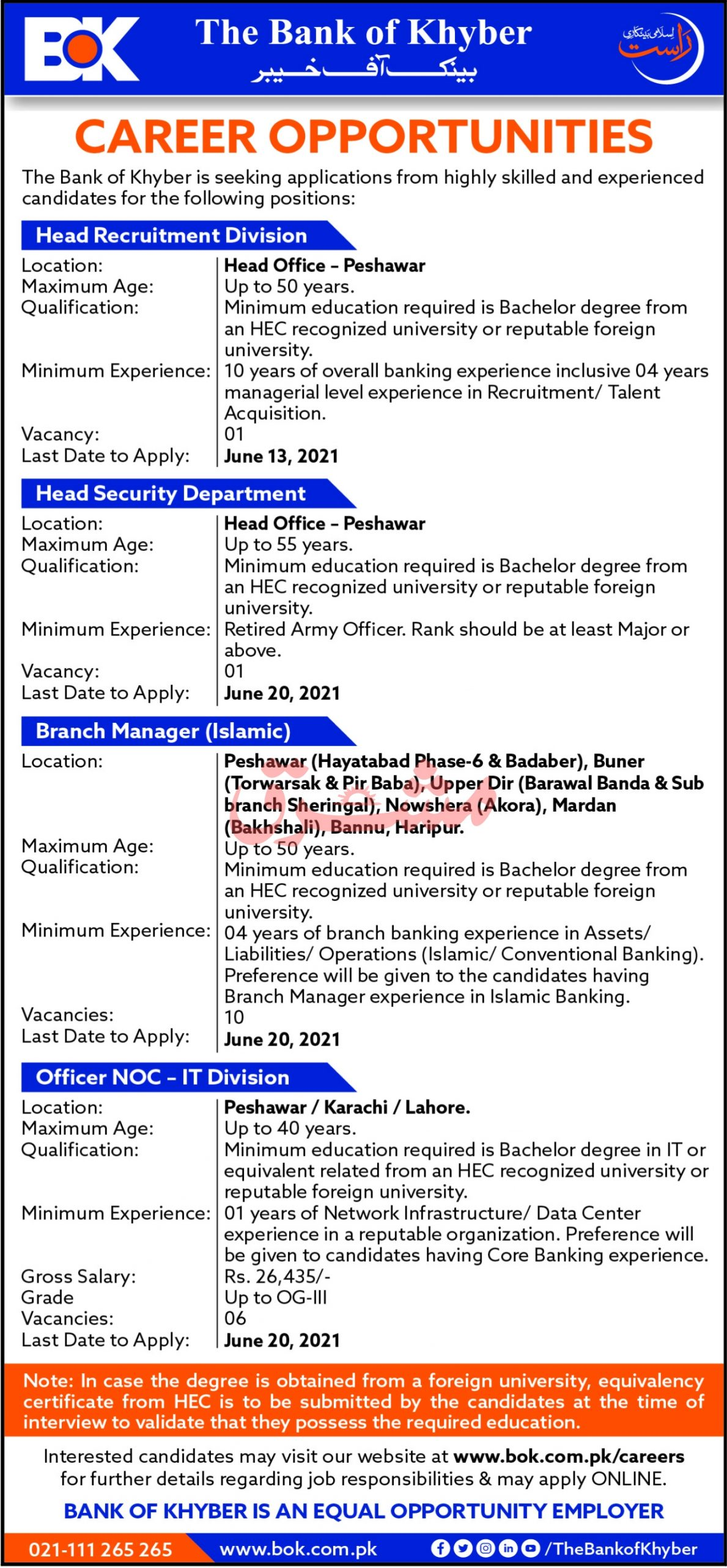 The Bank of Khyber Jobs June 2021