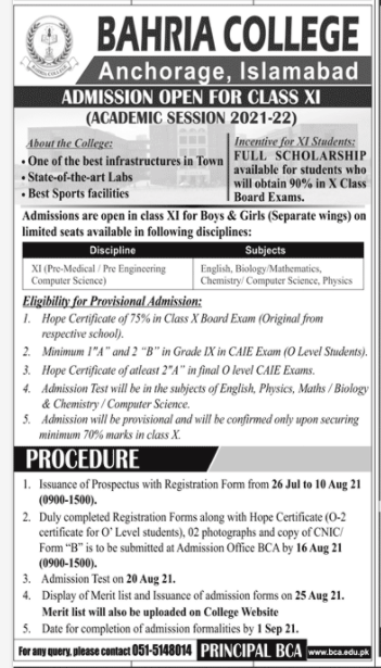 Bahria College Anchorage Islamabad Faculty Staff Jobs 2021