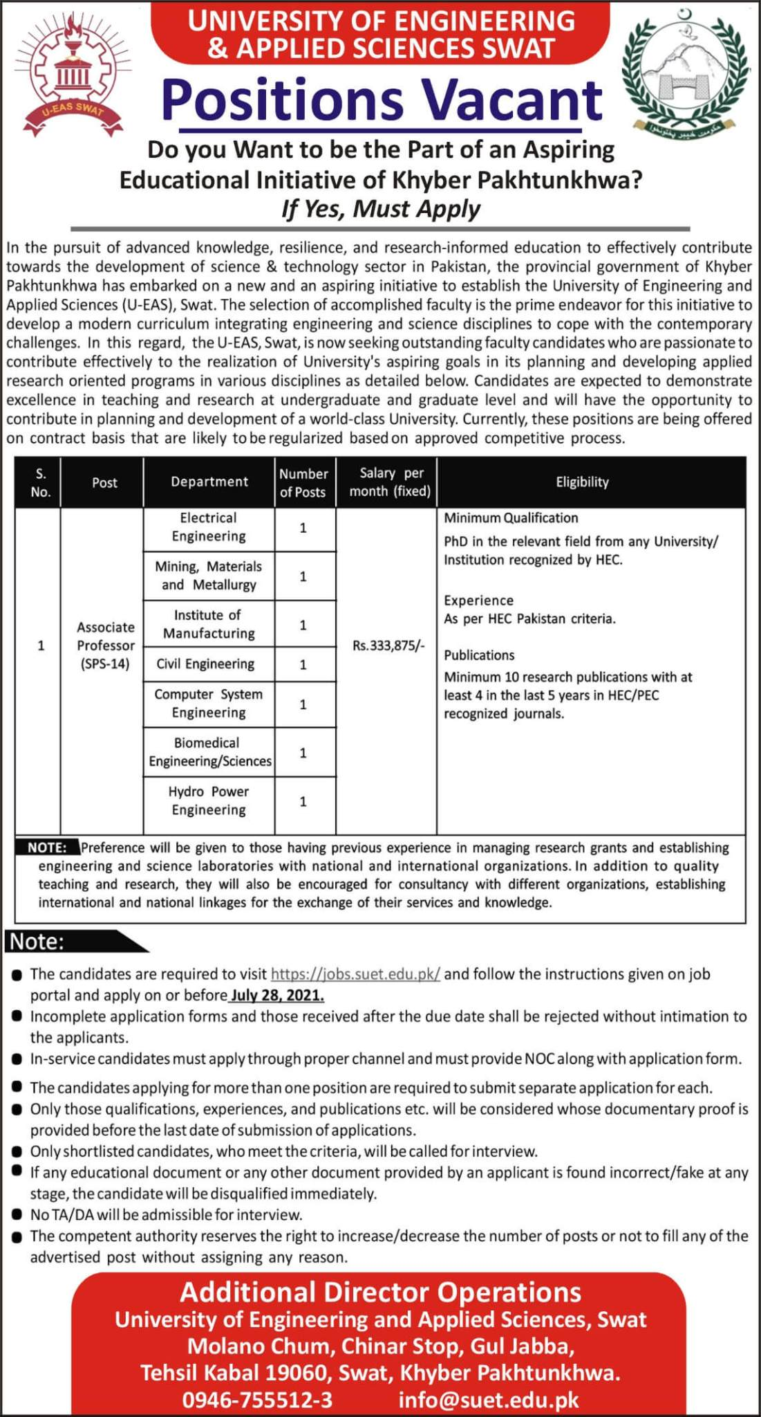 Swat University of Engineering and Technology Latest Jobs 2021